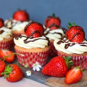 Strawberry Cupcakes with Chocolate Drizzle
