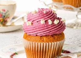 White Chocolate Cupcakes with Blueberry Buttercream
