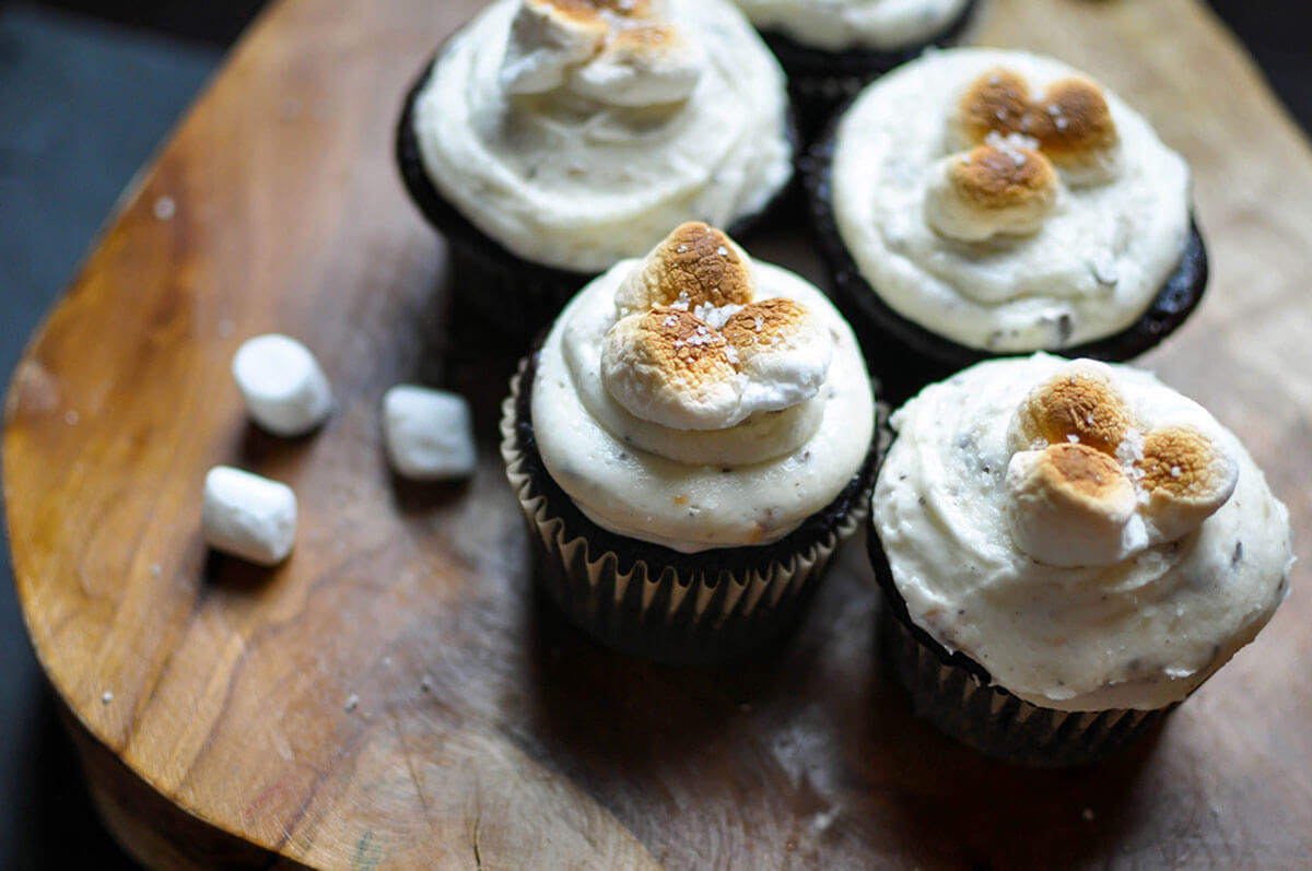 Salted Toasted Marshmallow Chocolate Cupcakes