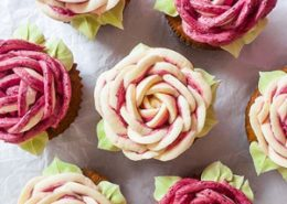 White Chocolate Cupcakes with Vanilla Blackberry Buttercream Roses