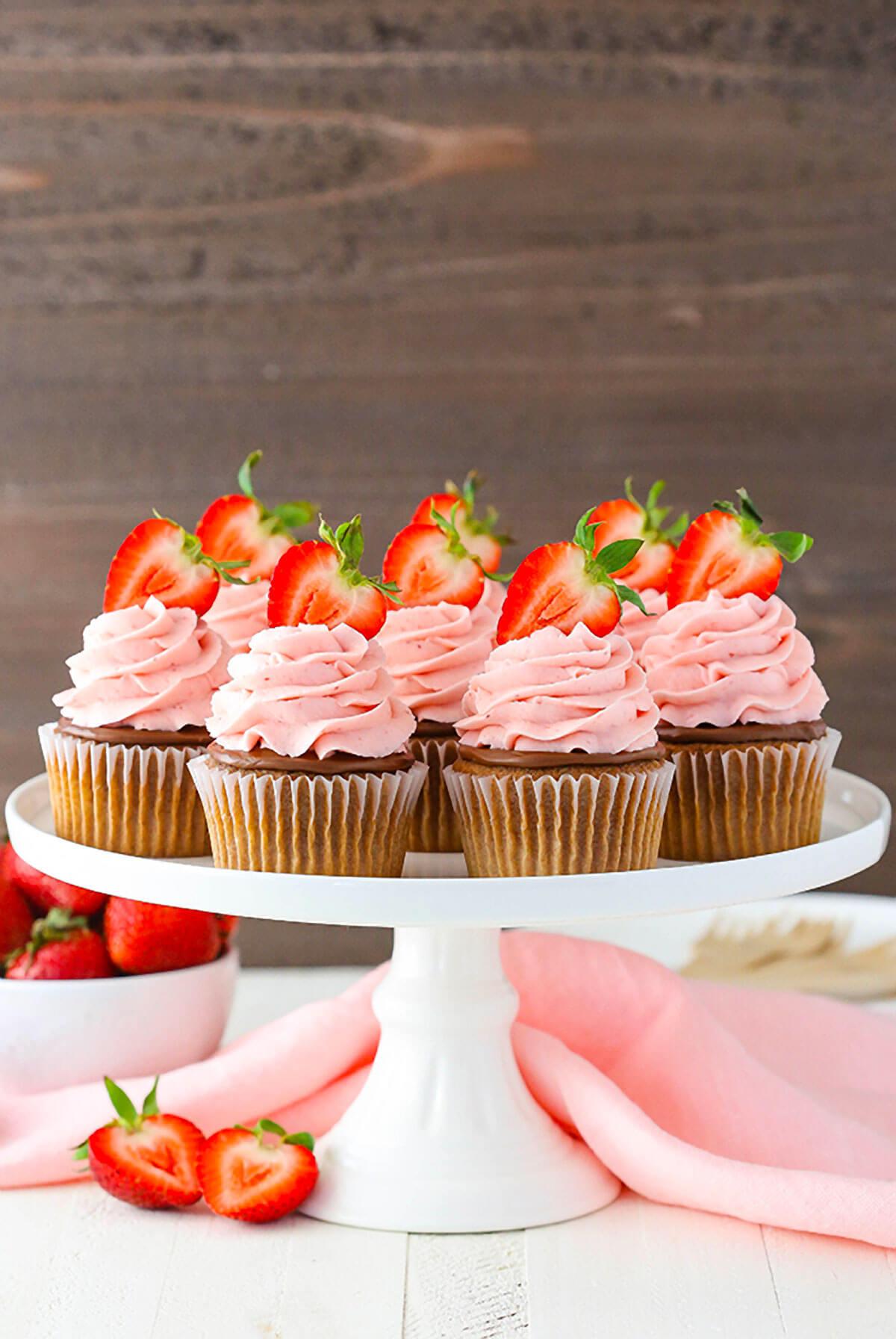 Strawberry Nutella Cupcakes