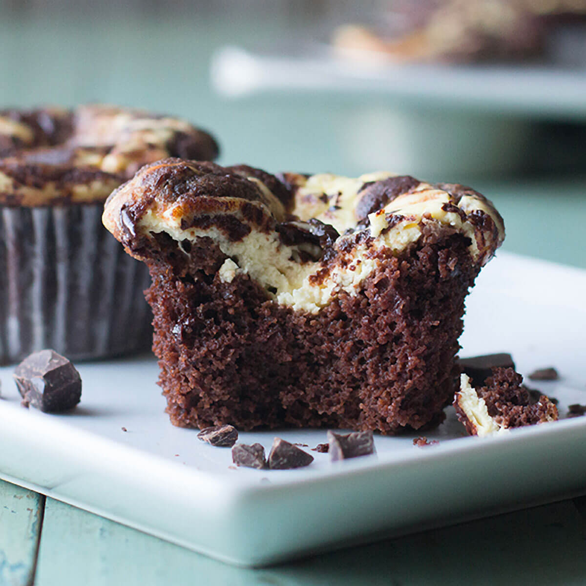 Low-Carb Black Bottom Cupcakes